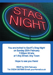 neon stag party invitations