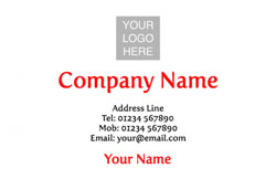red logo upload business cards