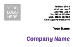 purple logo upload business cards
