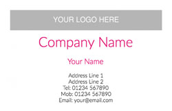 pink logo upload business cards