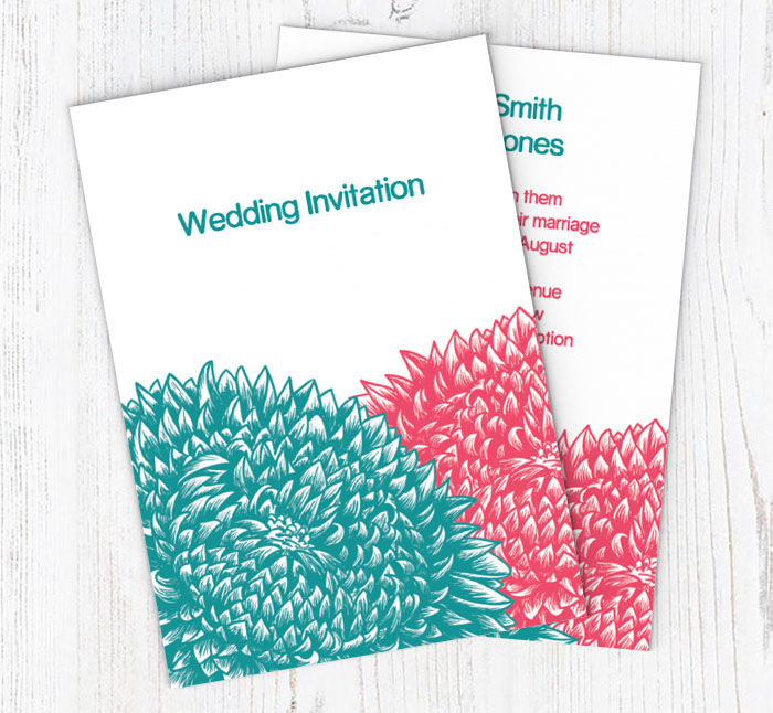 chrysanthemums wedding invitations