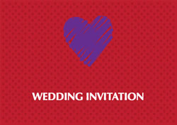 purple heart wedding invitations