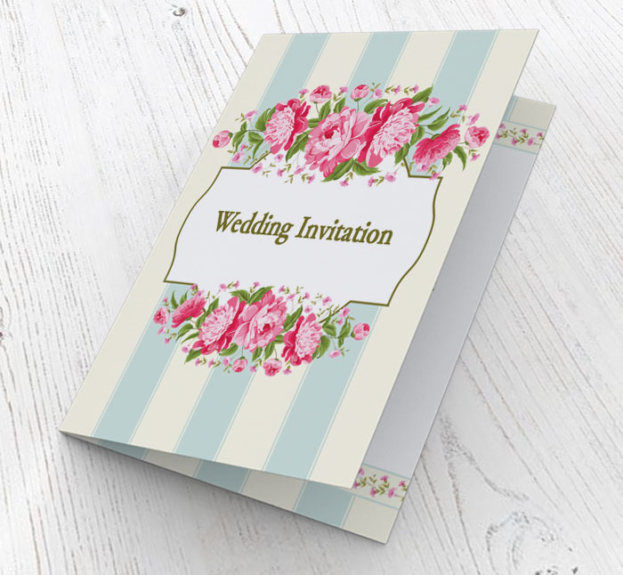 flowers and stripes invitations