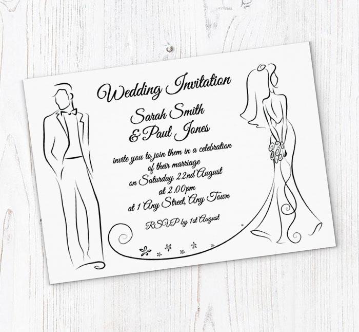Bride and groom outline wedding invitations customise online plus bride and groom outline invitations stopboris Gallery