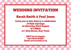 white hearts wedding invitations