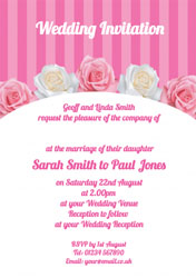 roses and stripes wedding invitations