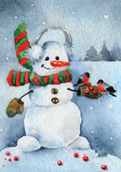 watercolour snowman christmas card