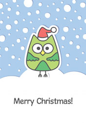 festive owl christmas card