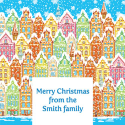 snowy town christmas card