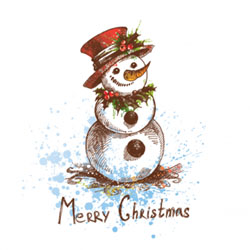 sketch snowman christmas card