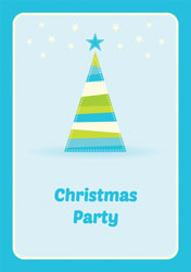 blue christmas tree party invitations