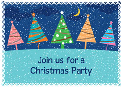 festive trees party invitations