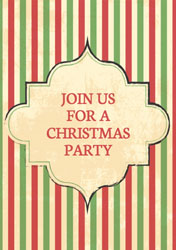 retro stripes christmas party invitations