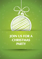 green bauble party invitations