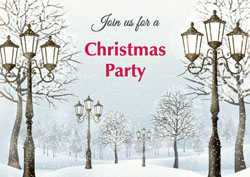 christmas lamp posts party invitations