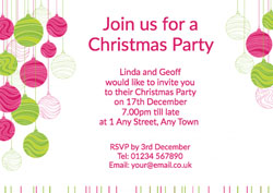 pink and green baubles invitations