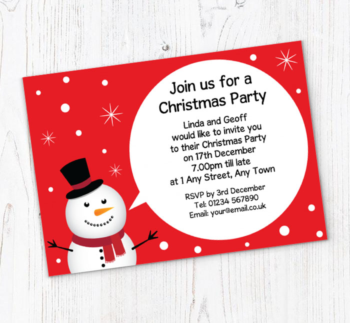 snowman party invitations customise online plus free envelopes and