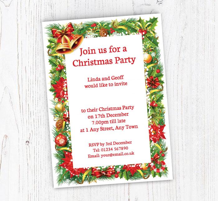 Christmas Border Party Invitations