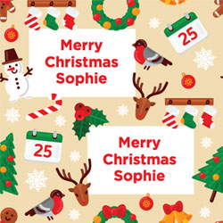 christmas elements wrapping paper