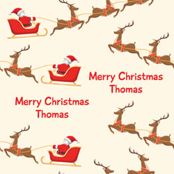 flying santa wrapping paper