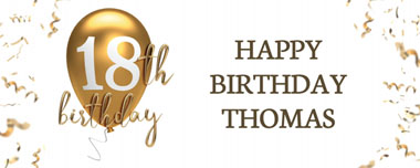 18th gold birthday balloon party banner