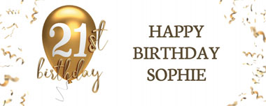 21st gold birthday balloon party banner