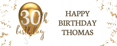 30th gold birthday balloon party banner