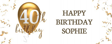 40th gold birthday balloon party banner