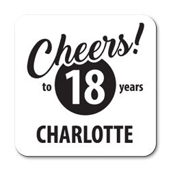 personalised cheers to 18 years coasters