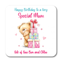 personalised birthday mum coasters