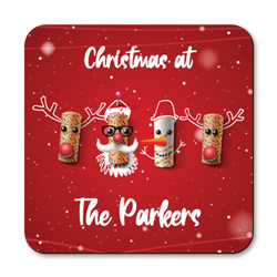 personalised christmas corks coasters