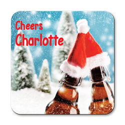 personalised christmas beers coasters