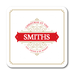 personalised decorative christmas coasters