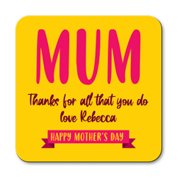 personalised thanks mum coasters
