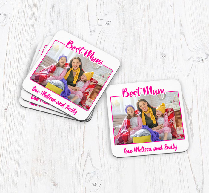 personalised best mum photo upload coasters
