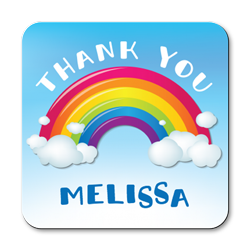 personalised rainbow thank you coasters