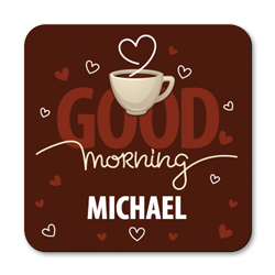 personalised good morning coasters