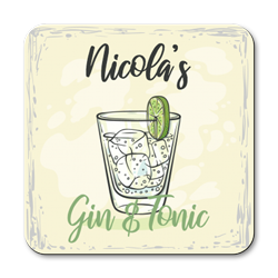 personalised gin and tonic coasters