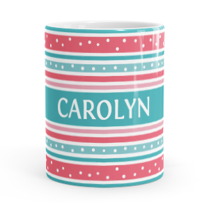 personalised stripes and dots mug