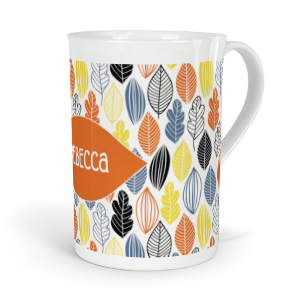 personalised autumn leaves fine bone china mug
