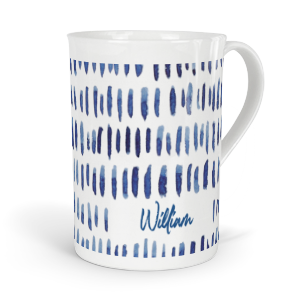 personalised indigo dashes fine bone china mug