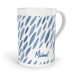 personalised indigo petals fine bone china mug
