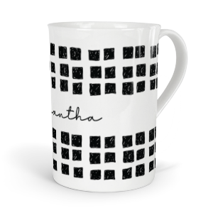 personalised inky doodle squares fine bone china mug