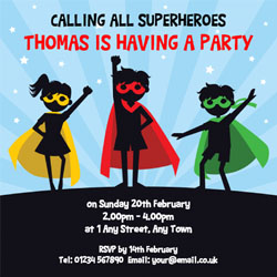 silhouette superhero party invitations