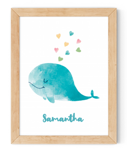 personalised whale framed wall art