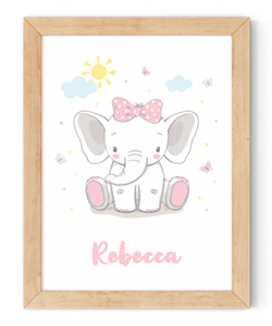 personalised baby elephant framed wall art