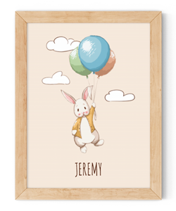 personalised bunny holding balloons framed wall art