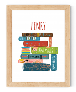 personalised boys stack of books framed wall art