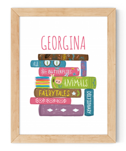 personalised girls stack of books framed wall art