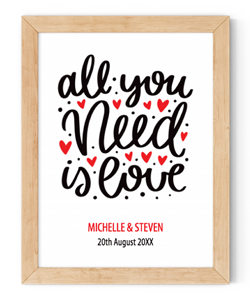 personalised all you need is love framed wall art